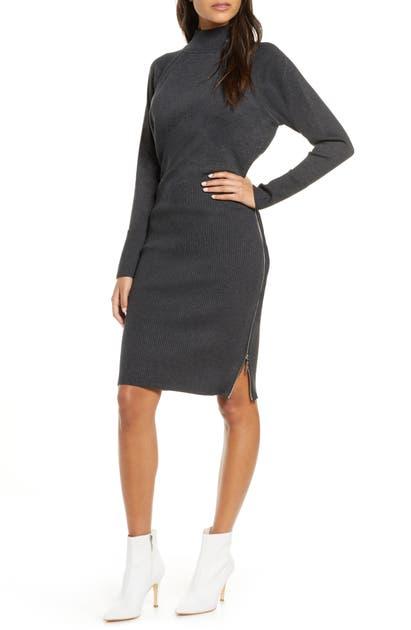Eliza J Mock Neck Zipper Side Long Sleeve Sweater Dress In Grey