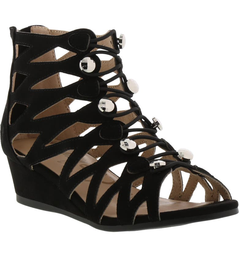 SAM EDELMAN Kelley Khloey Wedge Sandal, Main, color, BLACK NOVO