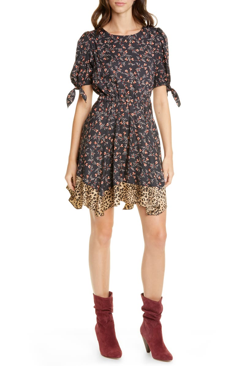REBECCA TAYLOR Lia Floral Silk Blend Dress, Main, color, 014