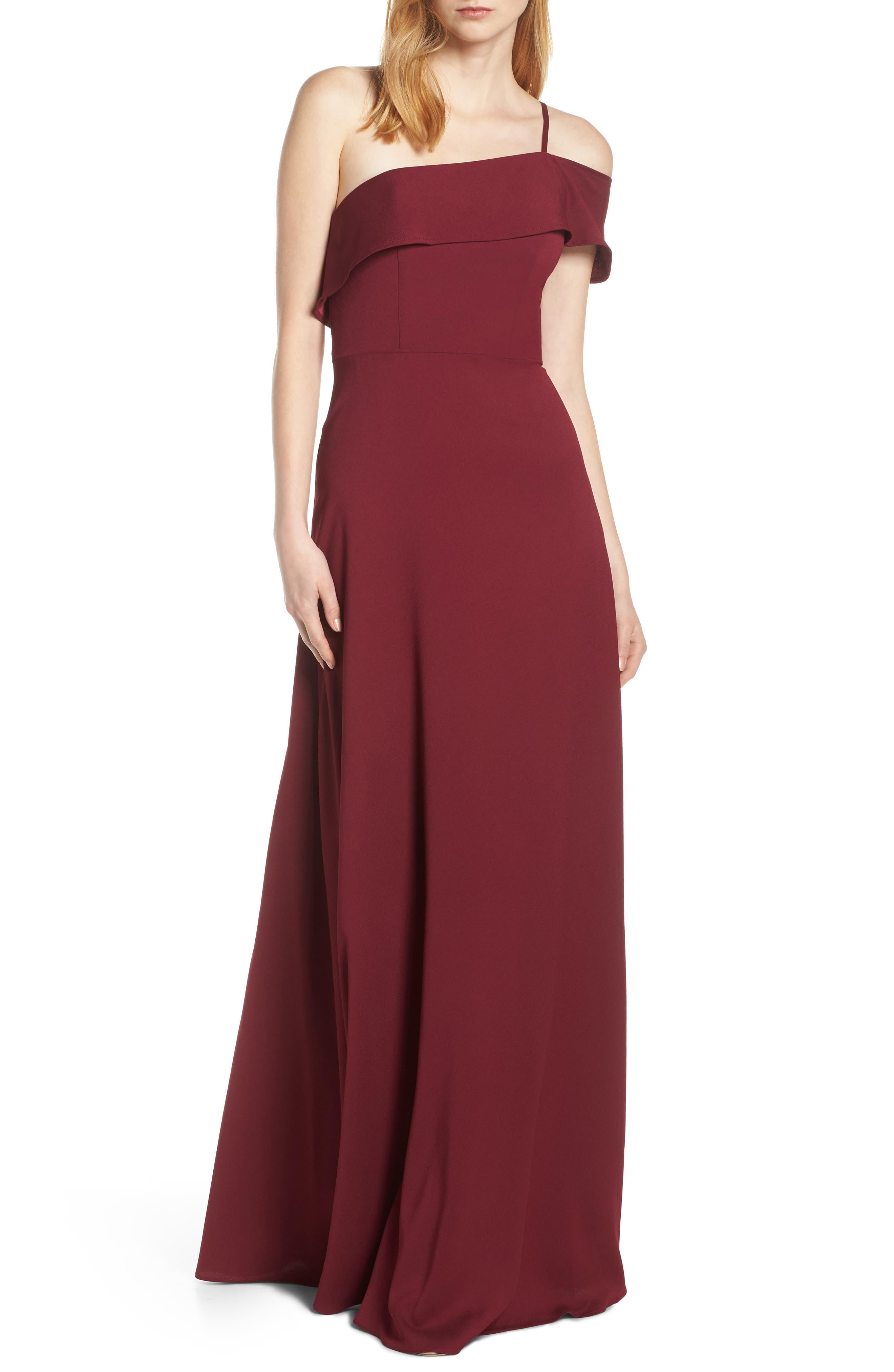 Hayley Paige Occasions One Cold Shoulder Crepe Evening Dress, Burgundy