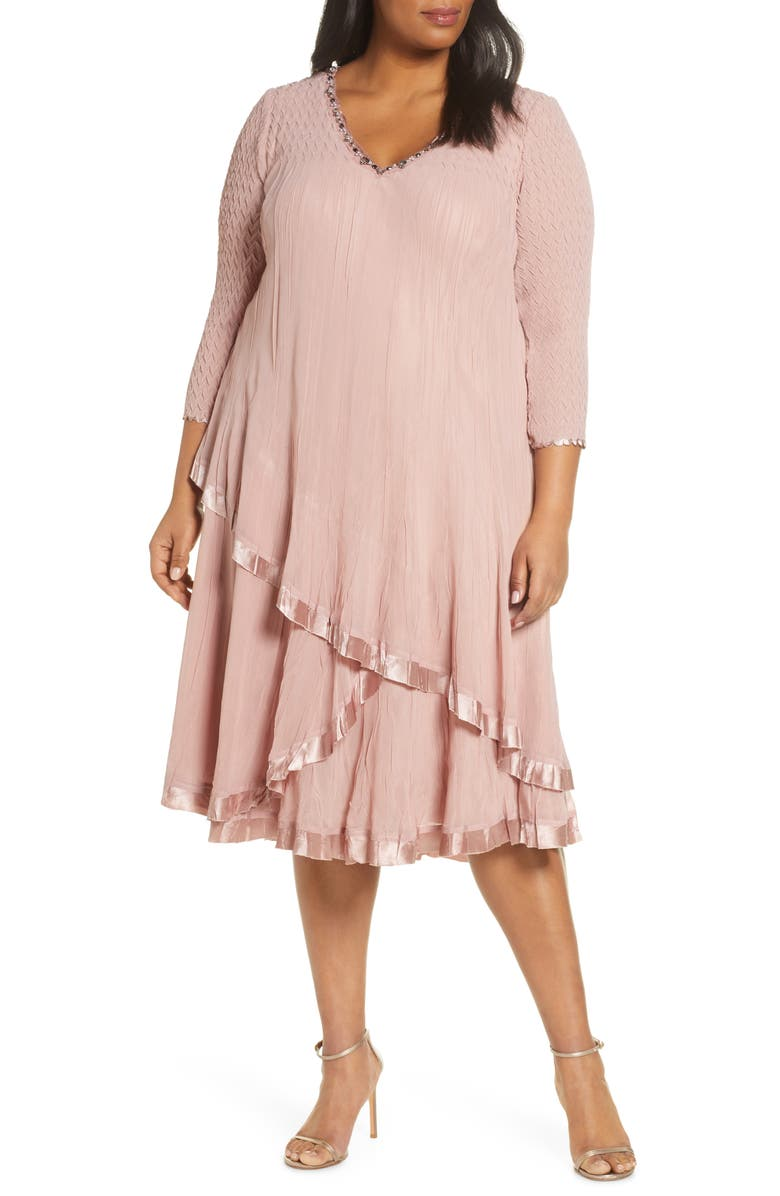 KOMAROV Beaded Tiered Cocktail Dress, Main, color, TAUPE ROSE