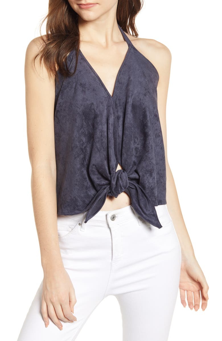 BISHOP + YOUNG Faux Suede Halter Top, Main, color, MIDNIGHT BLUE