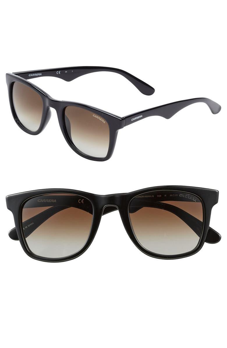 CARRERA EYEWEAR '6000' 50mm Sunglasses, Main, color, 001