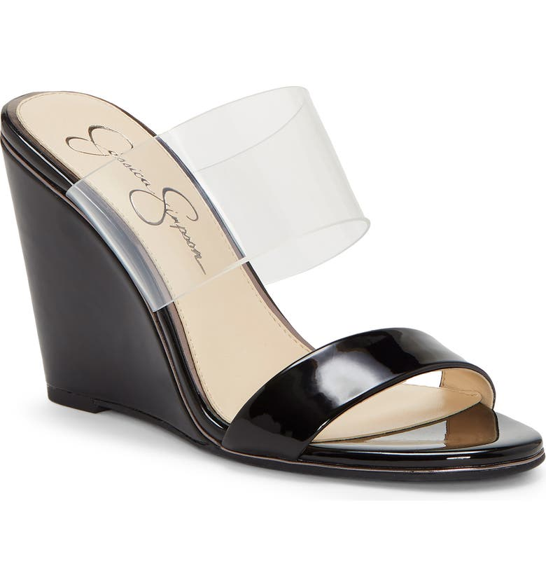 JESSICA SIMPSON Winsty Wedge Slide Sandal, Main, color, BLACK SUPER PATENT