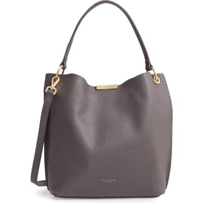 Ted Baker London Candiee Faceted Bar Leather Hobo - Grey