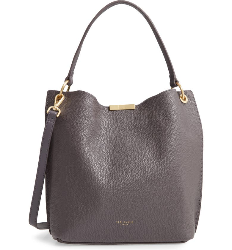 TED BAKER LONDON Candiee Faceted Bar Leather Hobo, Main, color, CHARCOAL