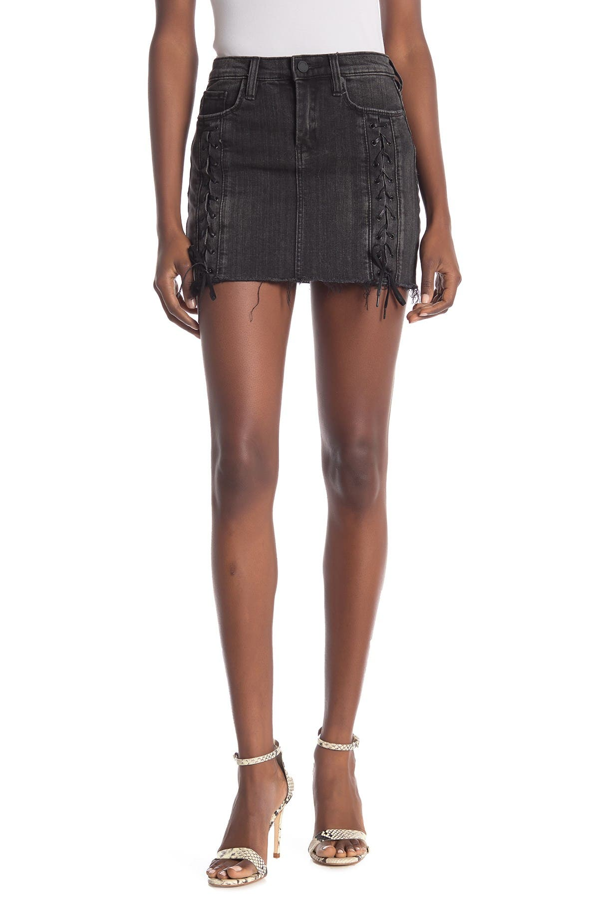 Image of BLANKNYC Denim Lace-Up Denim Mini Skirt