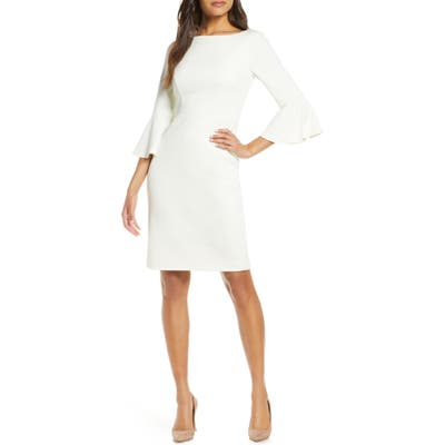 Harper Rose Bell Sleeve Bateau Neck Sheath Dress, Ivory