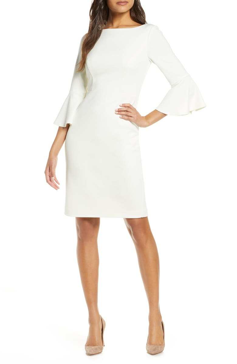 HARPER ROSE Bell Sleeve Bateau Neck Sheath Dress, Main, color, IVORY