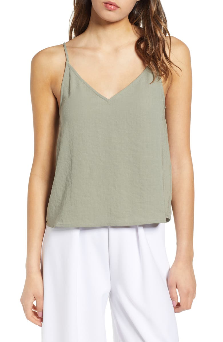 LEITH Deep V-Neck Camisole, Main, color, GREEN VETIVER