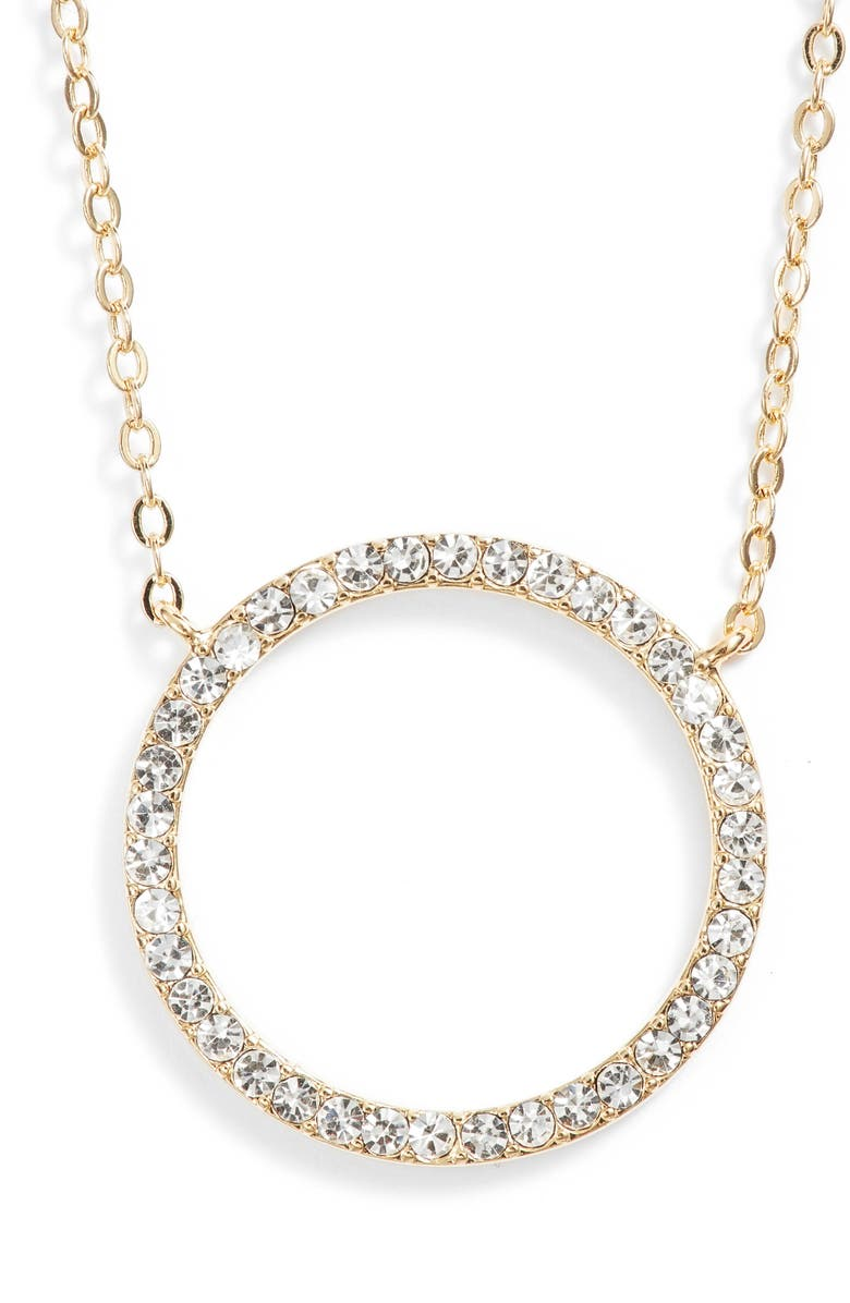 NORDSTROM Pavé Open Circle Pendant Necklace, Main, color, CLEAR- GOLD