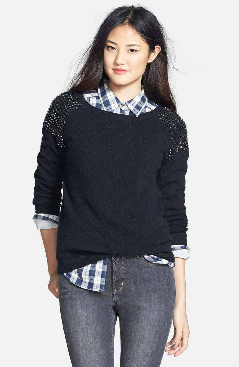 HALOGEN<SUP>®</SUP> Embellished Shoulder Cashmere Sweater, Main, color, 001