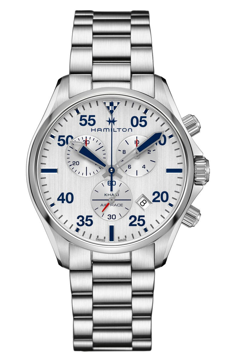 HAMILTON Khaki Aviation Chronograph Bracelet Watch, 44mm, Main, color, SILVER/ WHITE/ SILVER