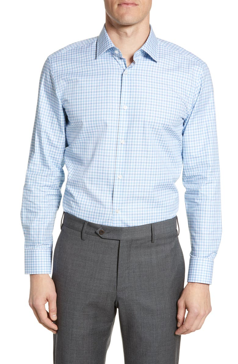 BOSS Sharp Fit Check Dress Shirt, Main, color, BLUE/GREEN