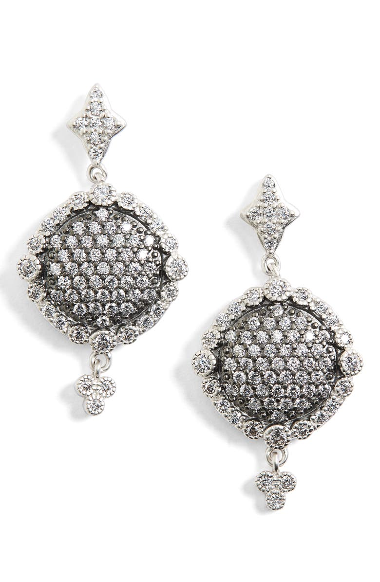 FREIDA ROTHMAN Disc Drop Earrings, Main, color, RHODIUM AND BLACK RHODIUM