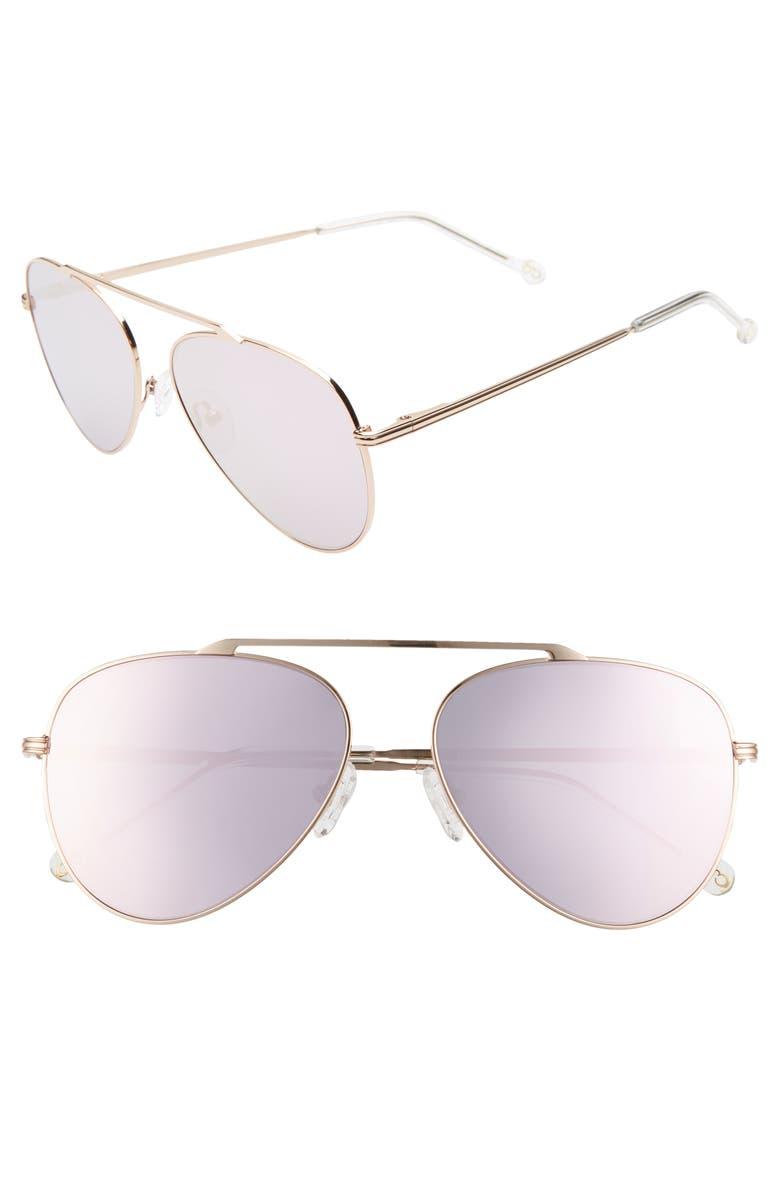 COLORS IN OPTICS Cosmic 58mm Aviator Sunglasses, Main, color, ROSE GOLD