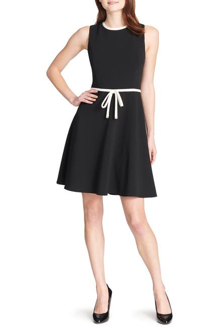 Image of Tommy Hilfiger Sleeveless Waist Tie Fit & Flare Dress