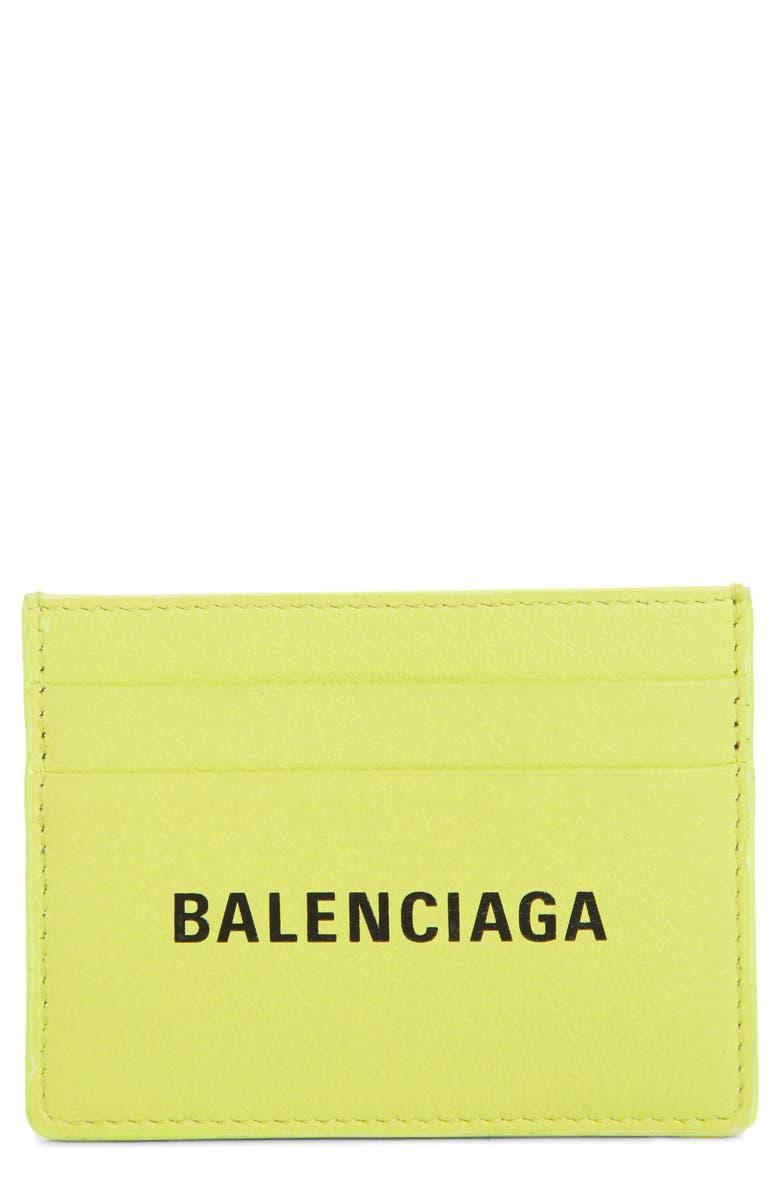 BALENCIAGA Everyday Leather Card Case, Main, color, 350