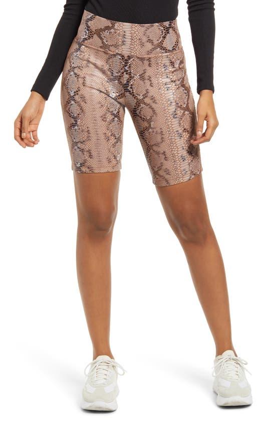 Kendall + Kylie Snake Print Bike Shorts In Cognac