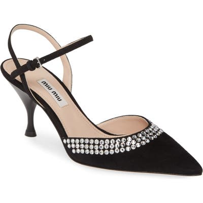Miu Miu Jeweled Pointy Toe Pump, Black