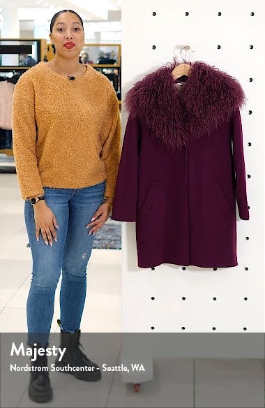 Wool Coccon Coat with Genuine Lamb Fur Trim, sales video thumbnail