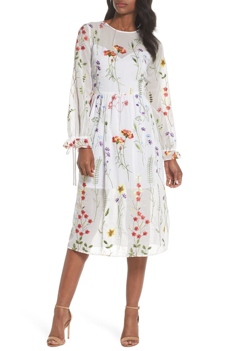 CHELSEA28 Sheer Embroidered Midi Dress, Main, color, 100