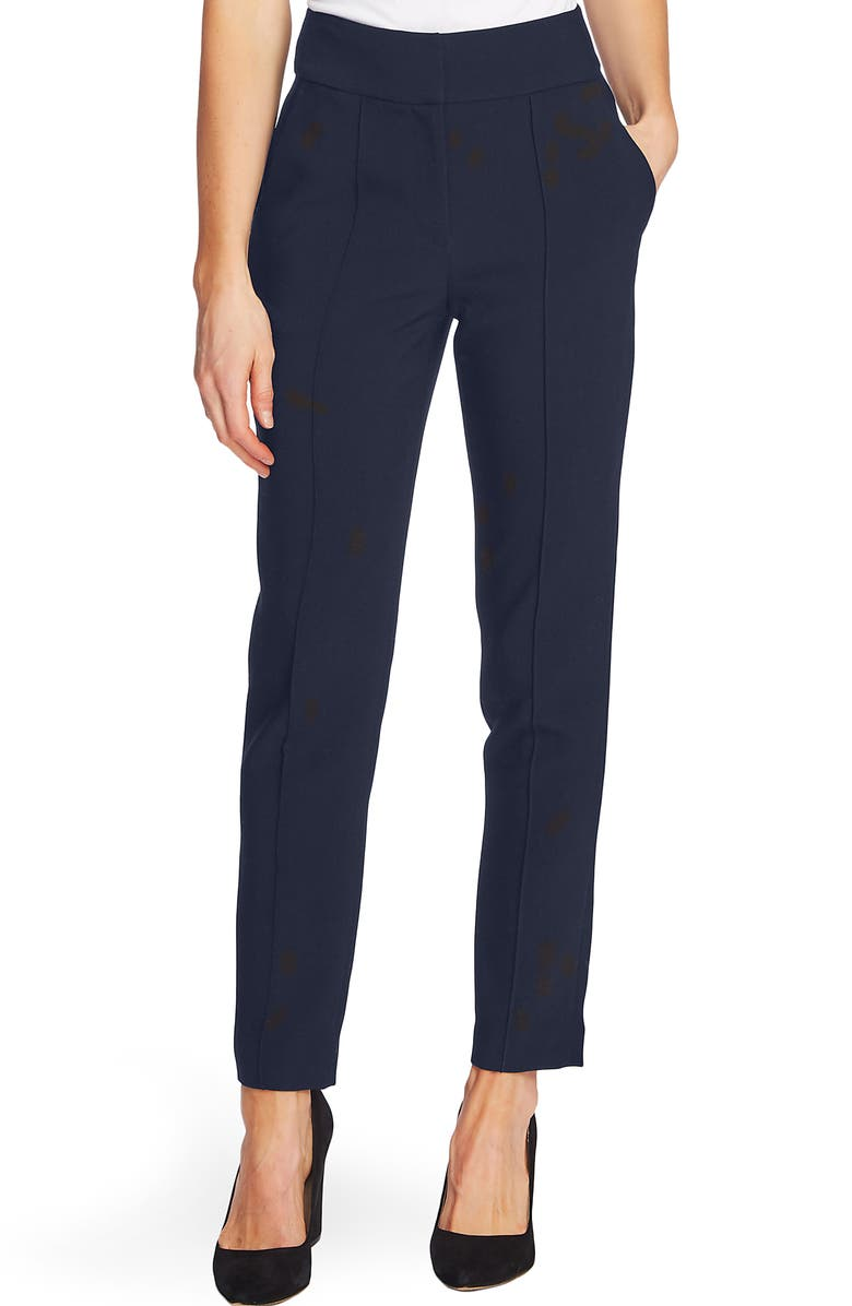 VINCE CAMUTO Pintuck Stretch Crepe Skinny Pants, Main, color, CLASSIC NA