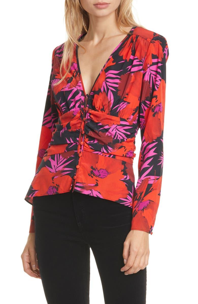 VERONICA BEARD Pevero Floral Stretch Silk Top, Main, color, 650