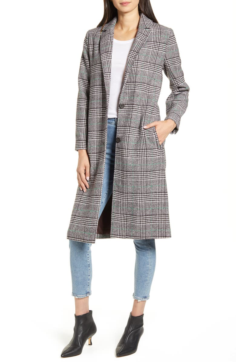 CUPCAKES AND CASHMERE Oxford Long Check Coat, Main, color, 200