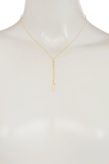 "Image of KARAT RUSH 10K Yellow Gold 17"" Diamond Cut Bead & Bar Lariat Necklace"