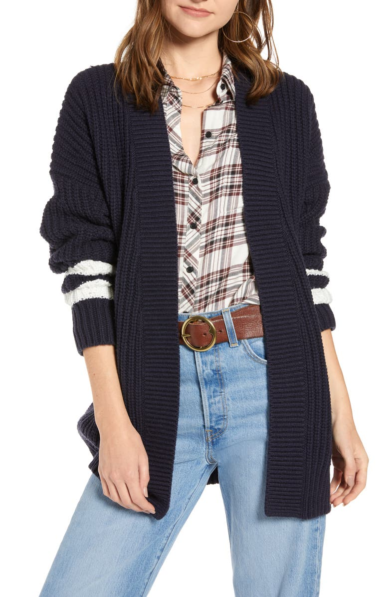 TREASURE & BOND Stripe Detail Open Front Cotton & Wool Blend Cardigan, Main, color, 410