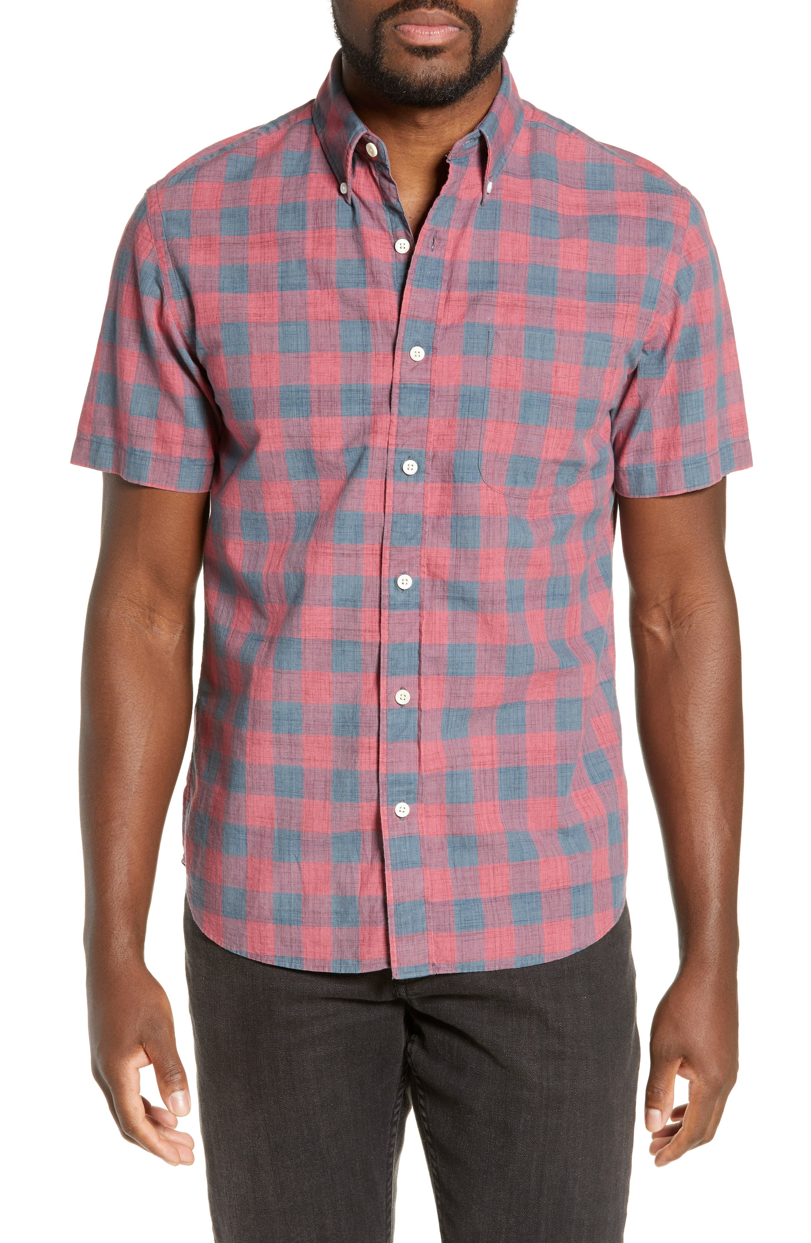 Faherty Rose Regular Fit Buffalo Check Organic Cotton Sport Shirt, Pink