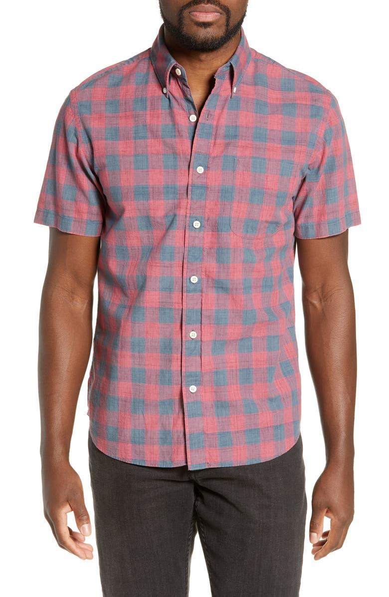 FAHERTY Rose Regular Fit Buffalo Check Organic Cotton Shirt, Main, color, ROSE BUFFALO CHECK