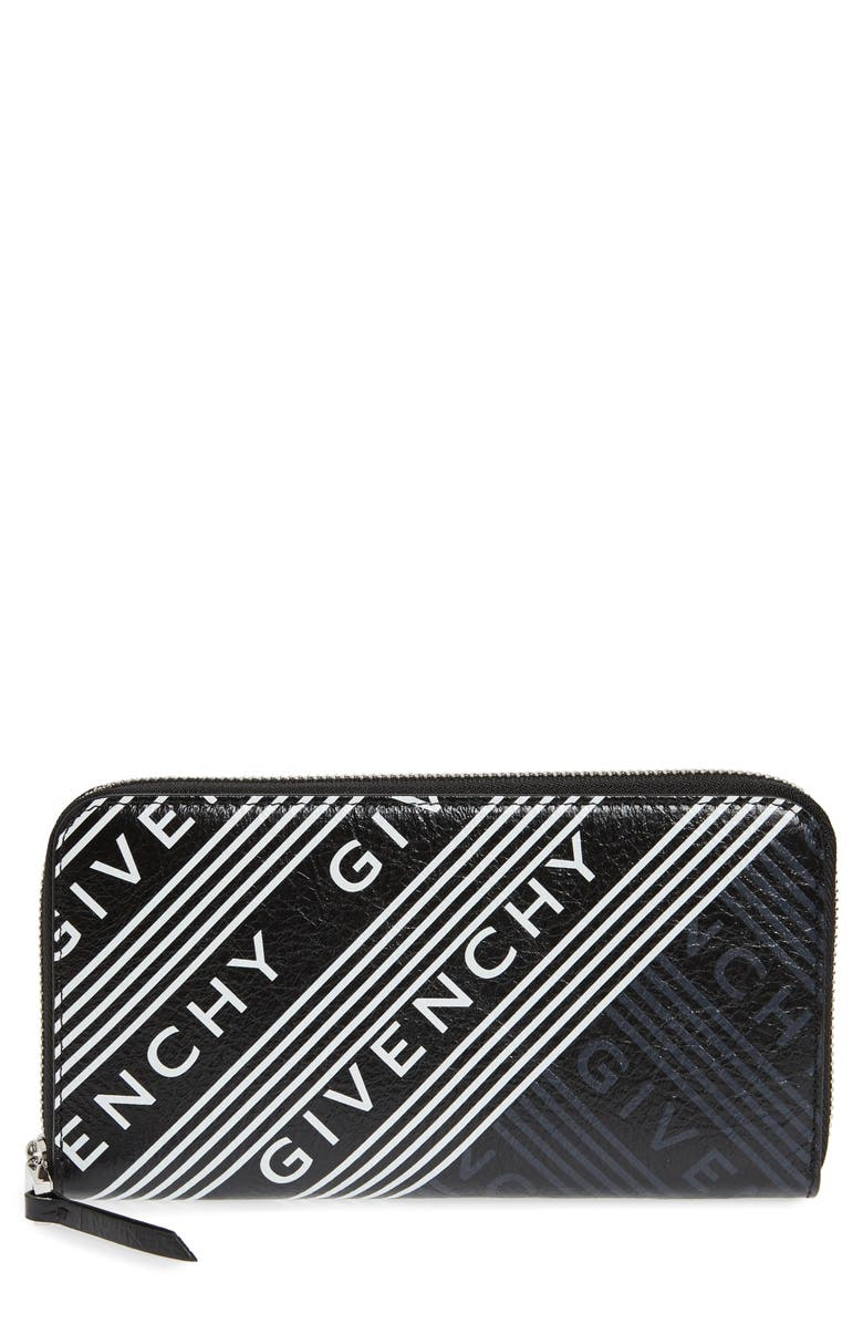 GIVENCHY Logo Print Leather Zip Wallet, Main, color, BLACK