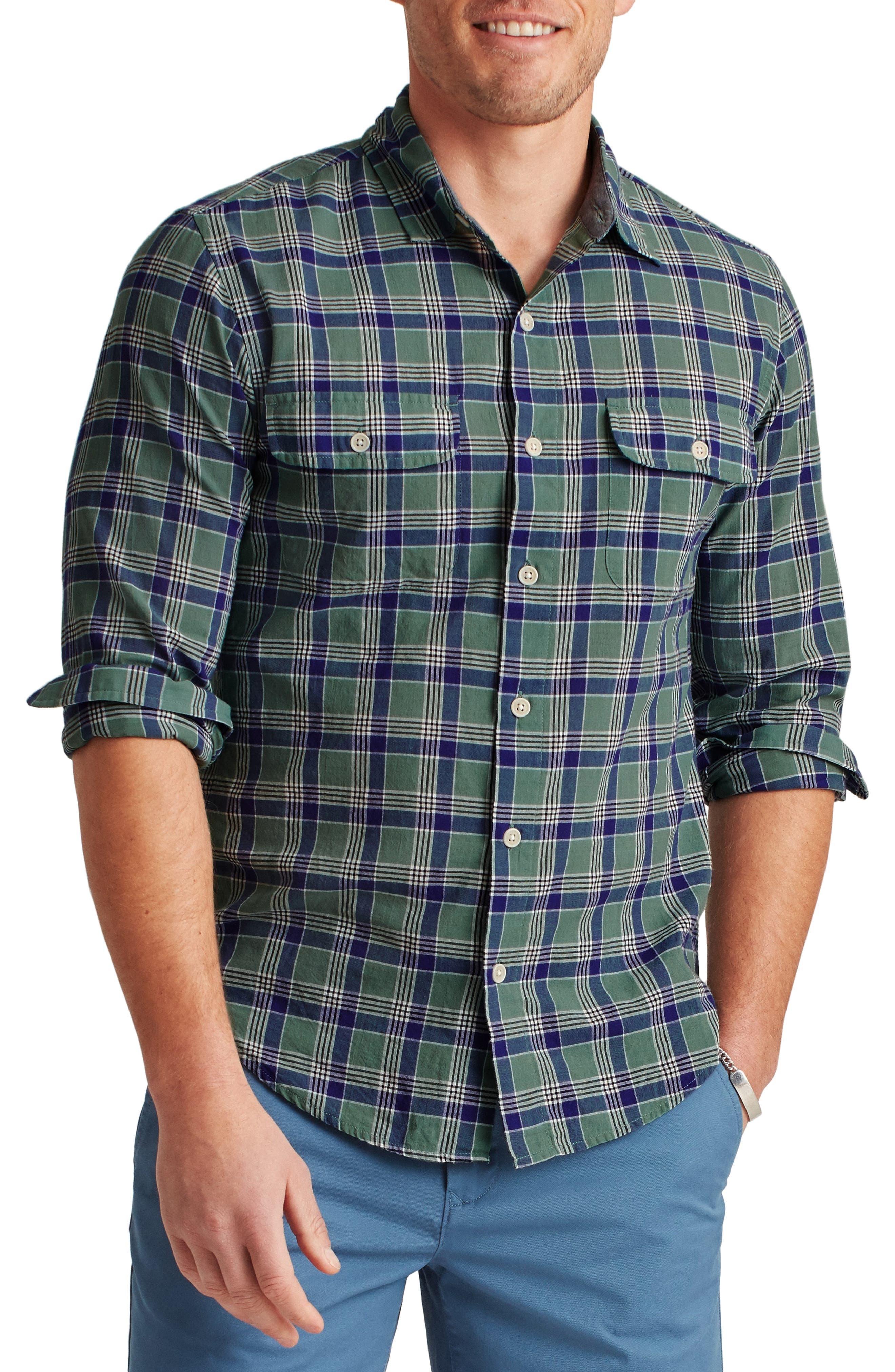 Plaid Madras Button-Up Shirt