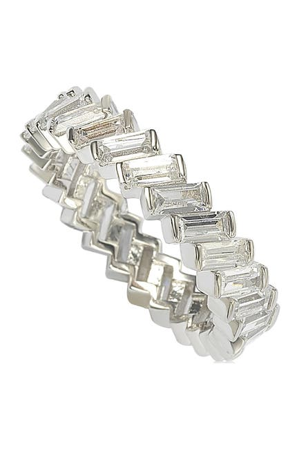 Image of Suzy Levian Sterling Silver White CZ Baguette Eternity Band Ring