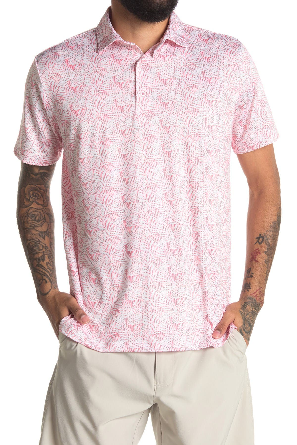 Image of TailorByrd Leaf Print Performance Golf Polo