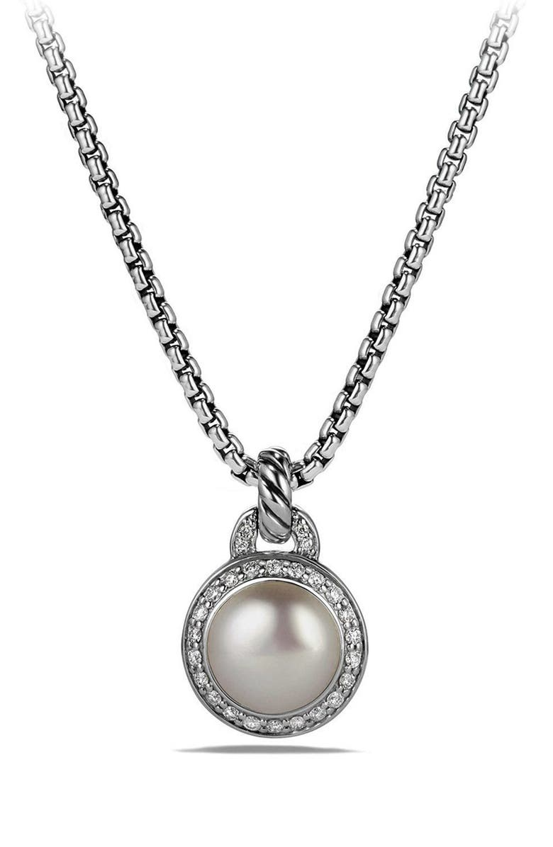 DAVID YURMAN Albion Petite Cerise Pendant Necklace with Pearl and Diamonds, Main, color, SILVER/ PEARL