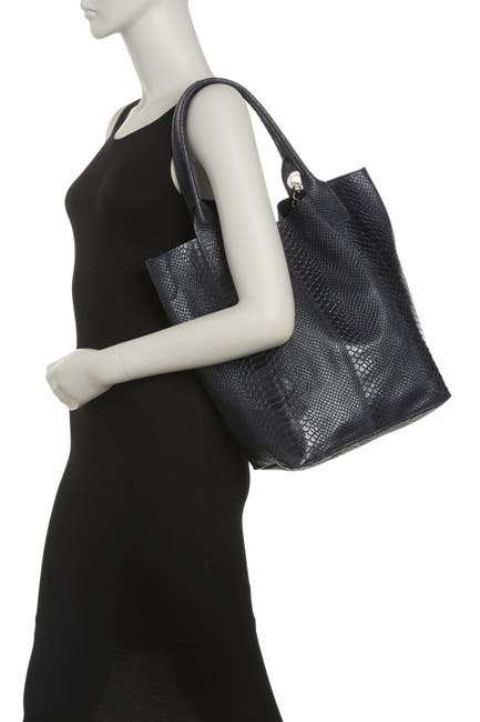 Image of Renata Corsi Croc Embossed Leather Shoulder Bag