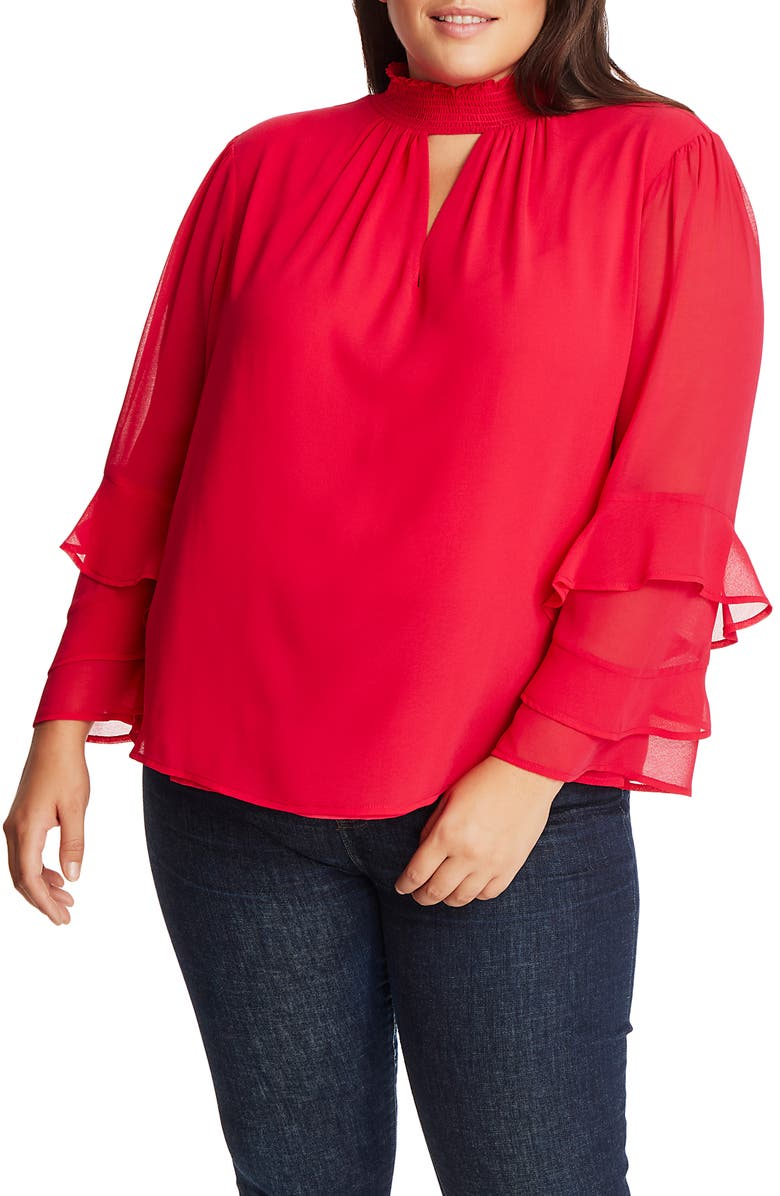 1.STATE Smock Neck Keyhole Detail Blouse, Main, color, RETRO PINK