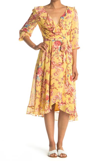 Image of Gabby Skye Floral Chiffon Wrap Style Midi Dress