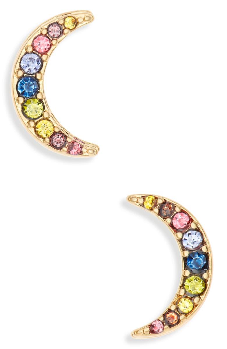 MADEWELL Rainbow Pavé Moon Stud Earrings, Main, color, RAINBOW PAVE