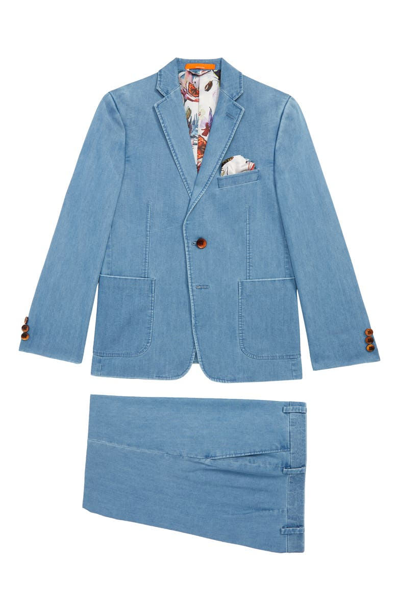 TALLIA Solid Cotton Blend Suit, Main, color, DENIM