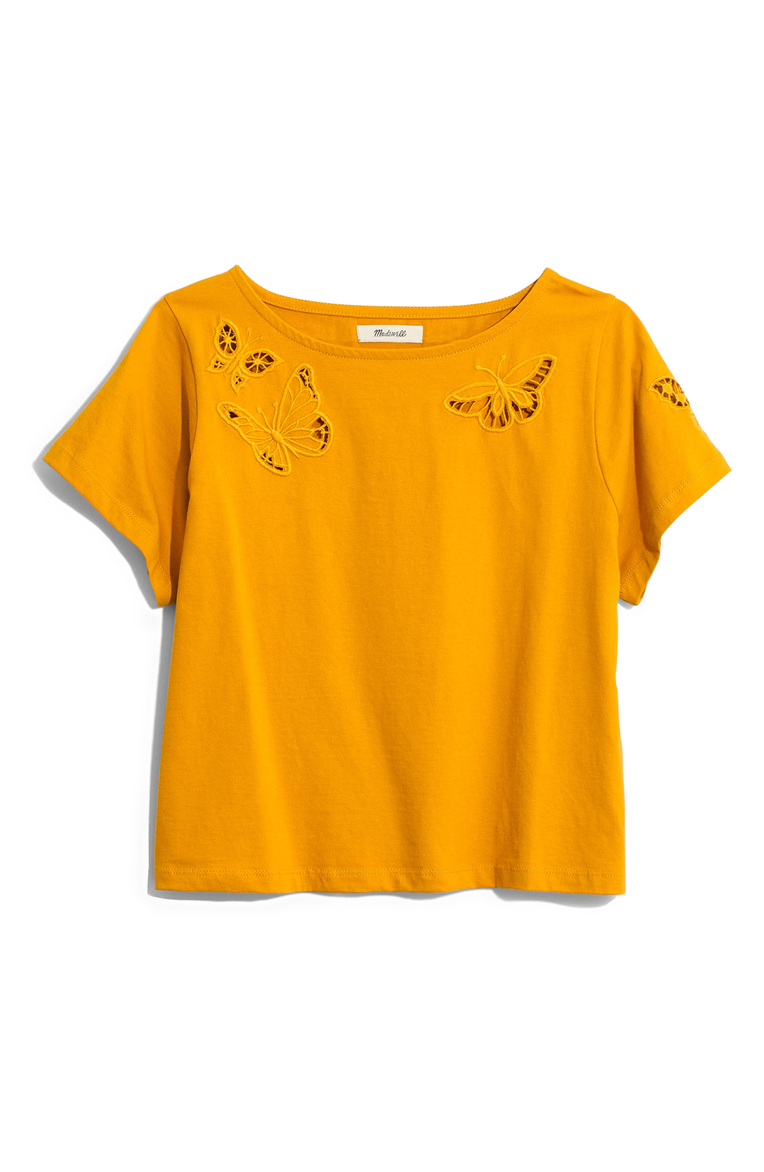,                             Butterfly Embroidered Eyelet Setlist Boxy Tee,                             Alternate thumbnail 6, color,                             700