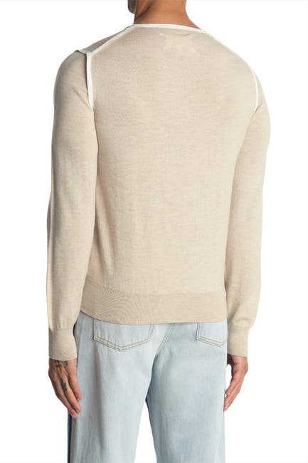 Image of MAISON MARTIN MARGIELA Contrast Wool Blend Sweater