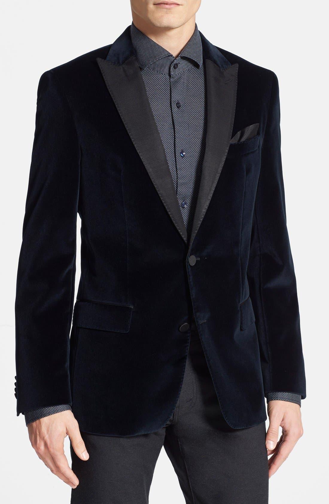 boss hugo boss \u0027hayford\u0027 trim fit velvet dinner jacket1418460 Hugo Boss Tuxedo Shirt Nordstrom #9