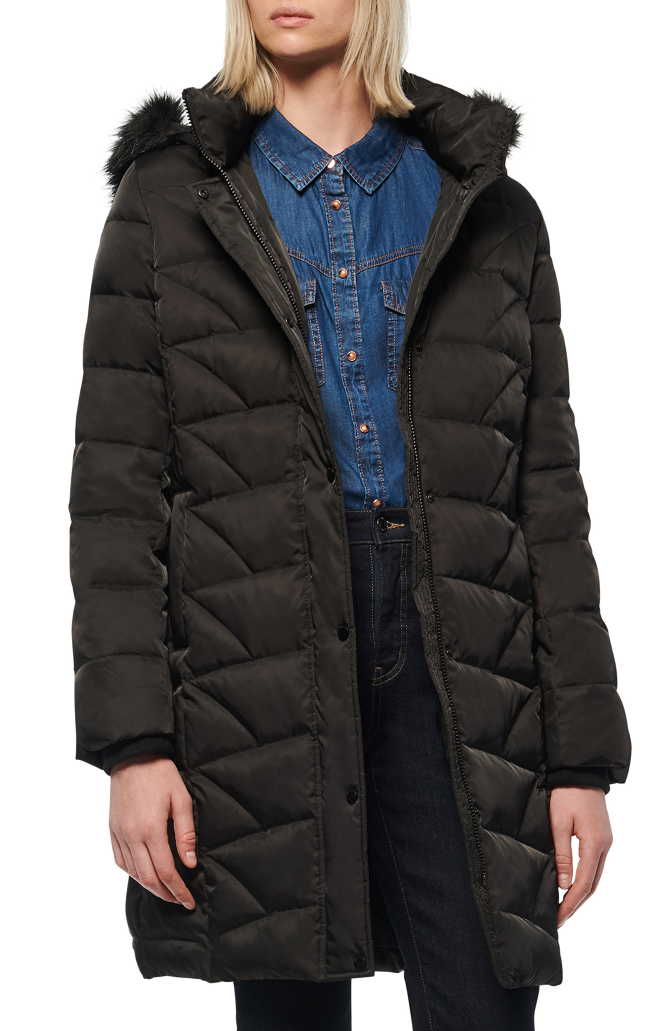 New Look  Black Faux Fur Collar Puffer Jacket Coat 8-18