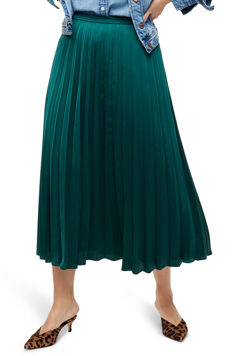 J.CREW Pleated Midi Skirt, Main, color, 301