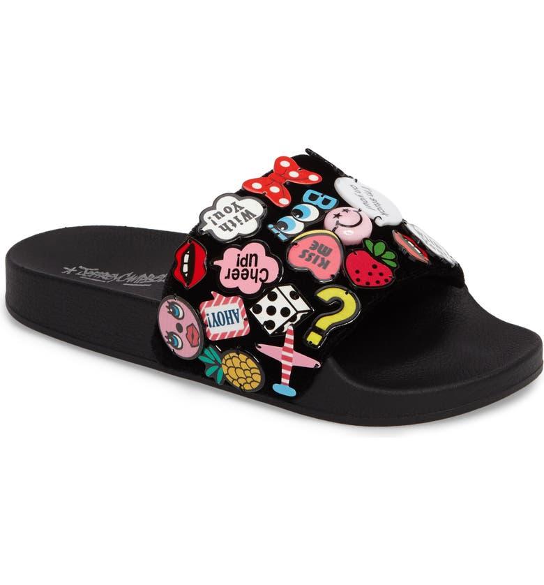 JEFFREY CAMPBELL Jova Button Embellished Slide Sandal, Main, color, 001
