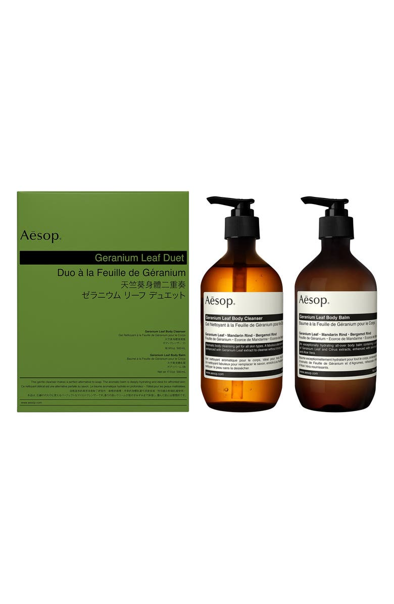 AESOP Geranium Leaf Body Cleanser & Body Balm Duet, Main, color, NONE